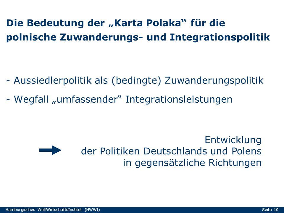 Hamburgisches WeltWirtschaftsInstitut (HWWI) Seite 10 Die Bedeutung der Karta Polaka für die polnische Zuwanderungs- und Integrationspolitik - Aussied