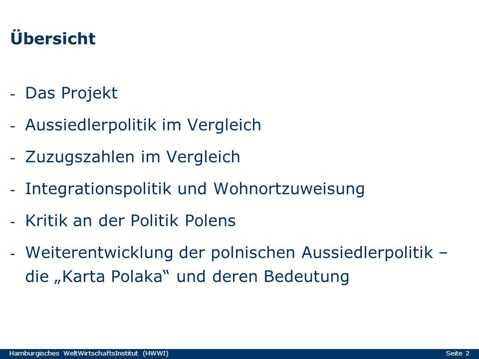 Hamburgisches WeltWirtschaftsInstitut (HWWI) Seite 2 Übersicht - Das Projekt - Aussiedlerpolitik im Vergleich - Zuzugszahlen im Vergleich - Integratio