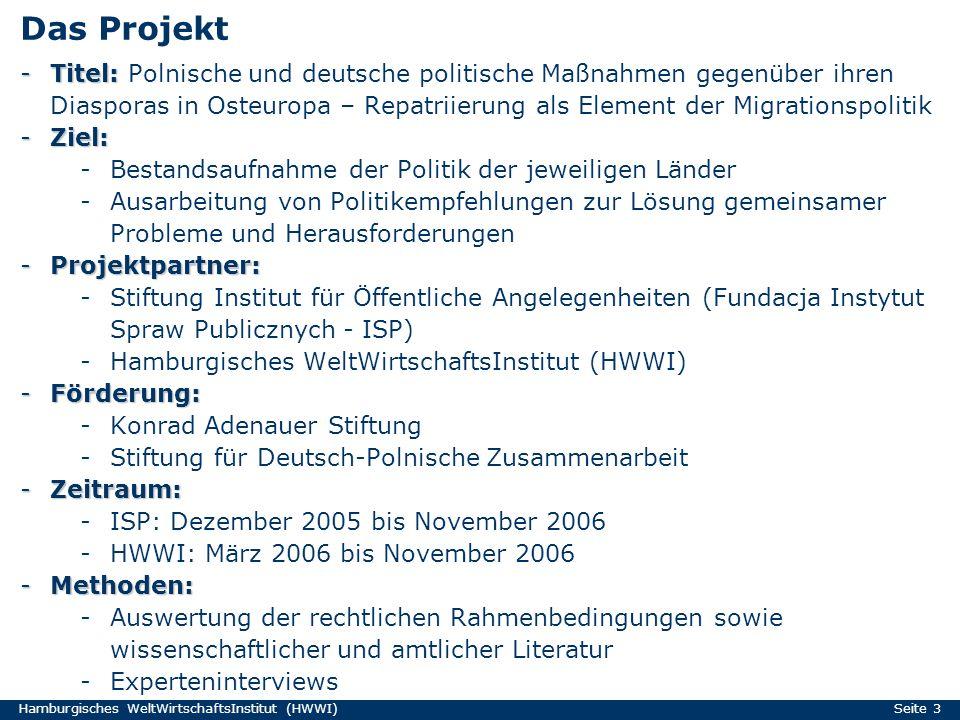 Hamburgisches WeltWirtschaftsInstitut (HWWI) Seite 3 Das Projekt -Titel: -Titel: Polnische und deutsche politische Maßnahmen gegenüber ihren Diasporas