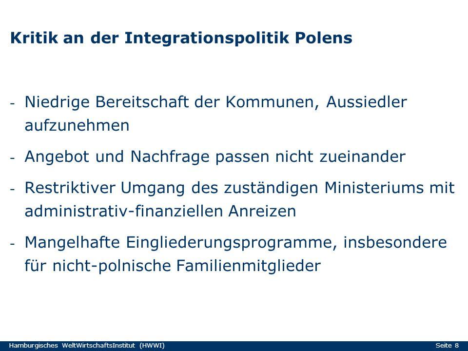 Hamburgisches WeltWirtschaftsInstitut (HWWI) Seite 8 Kritik an der Integrationspolitik Polens - Niedrige Bereitschaft der Kommunen, Aussiedler aufzune