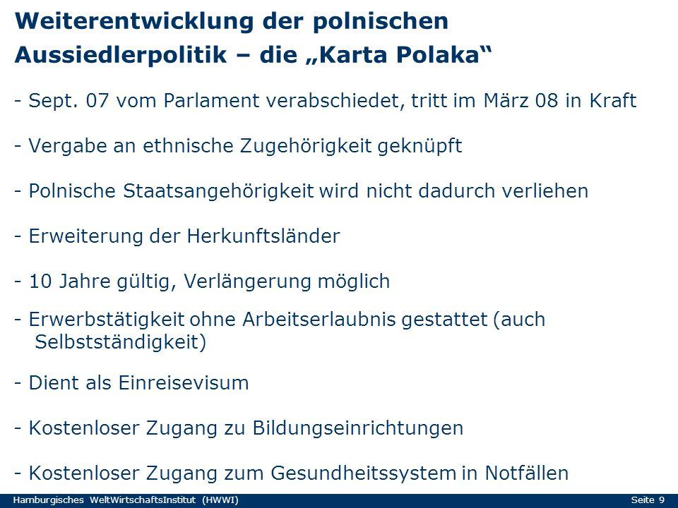 Hamburgisches WeltWirtschaftsInstitut (HWWI) Seite 9 Weiterentwicklung der polnischen Aussiedlerpolitik – die Karta Polaka - Sept. 07 vom Parlament ve