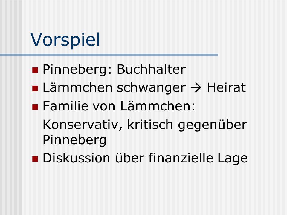 Vorspiel Pinneberg: Buchhalter Lämmchen schwanger Heirat Familie von Lämmchen: Konservativ, kritisch gegenüber Pinneberg Diskussion über finanzielle L