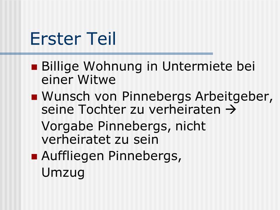 Erster Teil Billige Wohnung in Untermiete bei einer Witwe Wunsch von Pinnebergs Arbeitgeber, seine Tochter zu verheiraten Vorgabe Pinnebergs, nicht ve