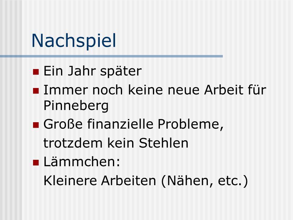 Nachspiel Ein Jahr später Immer noch keine neue Arbeit für Pinneberg Große finanzielle Probleme, trotzdem kein Stehlen Lämmchen: Kleinere Arbeiten (Nä