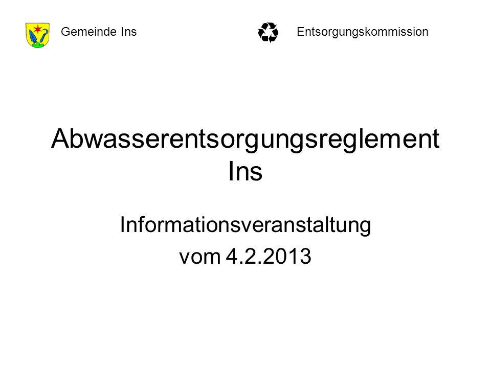 EntsorgungskommissionGemeinde Ins Abwasserentsorgungsreglement Ins Informationsveranstaltung vom 4.2.2013