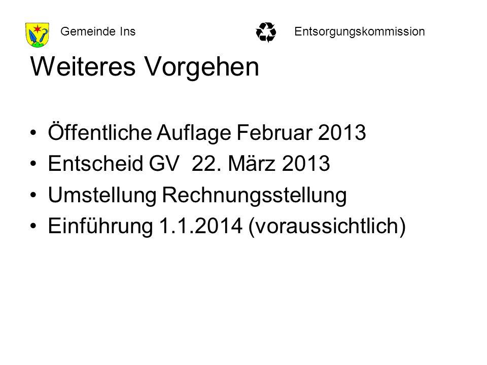 EntsorgungskommissionGemeinde Ins Weiteres Vorgehen Öffentliche Auflage Februar 2013 Entscheid GV 22.