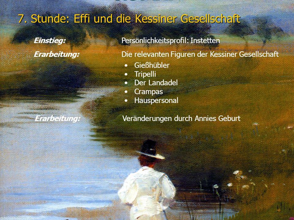 7. Stunde: Effi und die Kessiner Gesellschaft Einstieg: Persönlichkeitsprofil: Instetten Erarbeitung:Die relevanten Figuren der Kessiner Gesellschaft