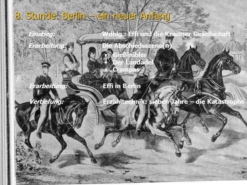 8. Stunde: Berlin – ein neuer Anfang Einstieg: Wdhlg.: Effi und die Kessiner Gesellschaft Erarbeitung:Die Abschiedsszene(n) Gießhübler Der Landadel Cr