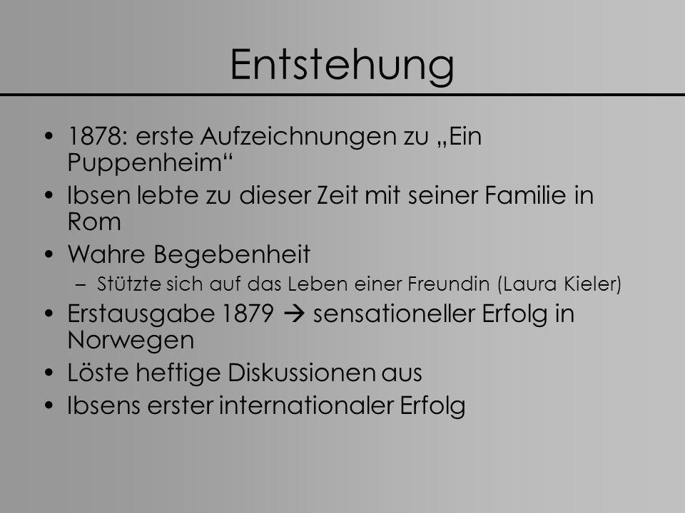 Entstehung 1878: erste Aufzeichnungen zu Ein Puppenheim Ibsen lebte zu dieser Zeit mit seiner Familie in Rom Wahre Begebenheit –Stützte sich auf das L