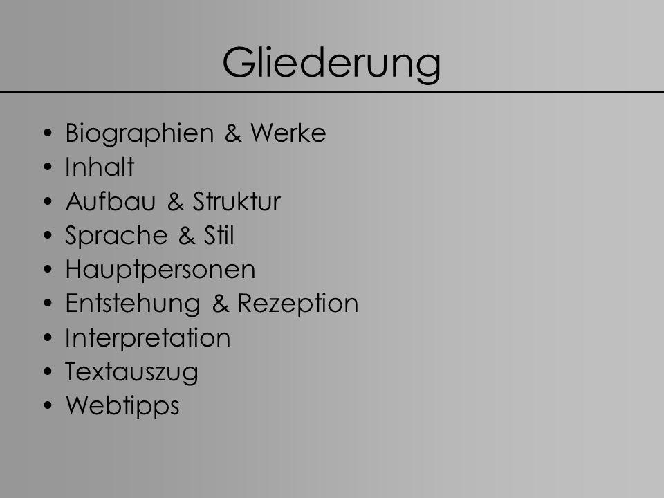 Gliederung Biographien & Werke Inhalt Aufbau & Struktur Sprache & Stil Hauptpersonen Entstehung & Rezeption Interpretation Textauszug Webtipps