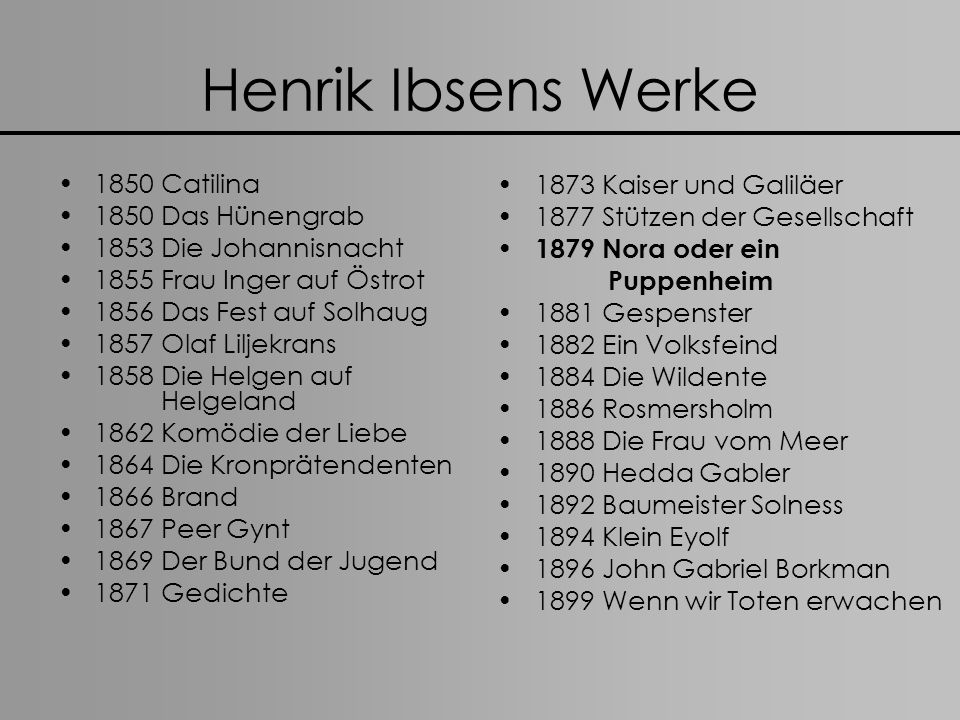 Henrik Ibsens Werke 1850 Catilina 1850 Das Hünengrab 1853 Die Johannisnacht 1855 Frau Inger auf Östrot 1856 Das Fest auf Solhaug 1857 Olaf Liljekrans