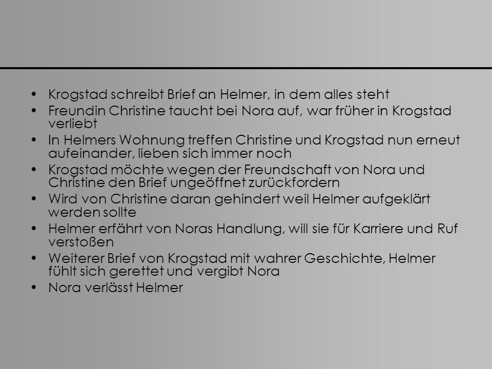 Krogstad schreibt Brief an Helmer, in dem alles steht Freundin Christine taucht bei Nora auf, war früher in Krogstad verliebt In Helmers Wohnung treff