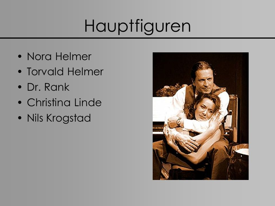 Hauptfiguren Nora Helmer Torvald Helmer Dr. Rank Christina Linde Nils Krogstad