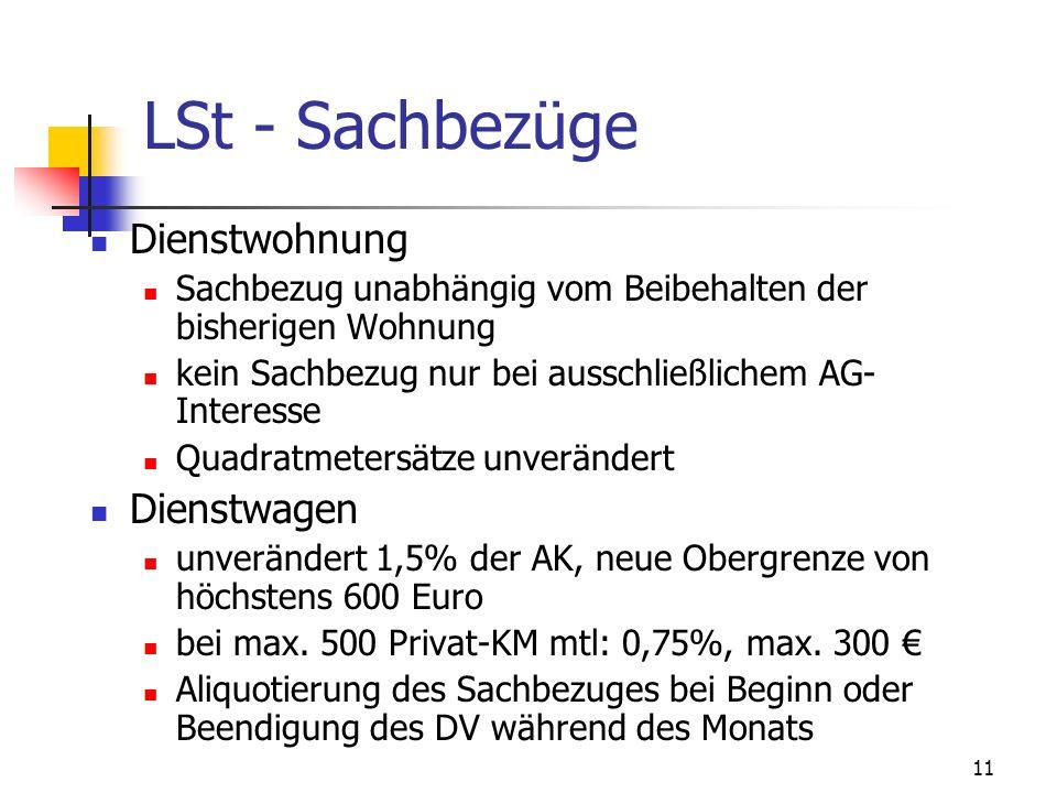 12 LSt - Sachbezüge KFZ- Abstell- oder Gargenplatz Sachbezug 14,53 Euro Zinsersparnis 3,5% Freibetrag 7.300 Euro Strom günstigster regionaler Tarif für private Haushalte