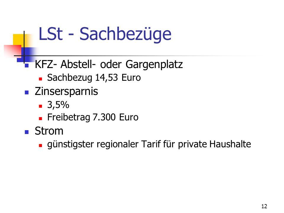 12 LSt - Sachbezüge KFZ- Abstell- oder Gargenplatz Sachbezug 14,53 Euro Zinsersparnis 3,5% Freibetrag 7.300 Euro Strom günstigster regionaler Tarif fü