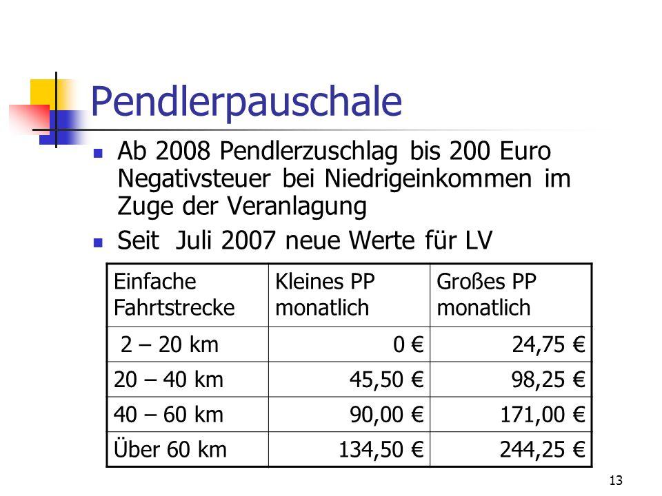 13 Pendlerpauschale Ab 2008 Pendlerzuschlag bis 200 Euro Negativsteuer bei Niedrigeinkommen im Zuge der Veranlagung Seit Juli 2007 neue Werte für LV E