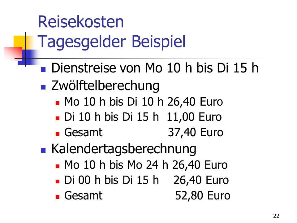22 Reisekosten Tagesgelder Beispiel Dienstreise von Mo 10 h bis Di 15 h Zwölftelberechung Mo 10 h bis Di 10 h 26,40 Euro Di 10 h bis Di 15 h 11,00 Eur