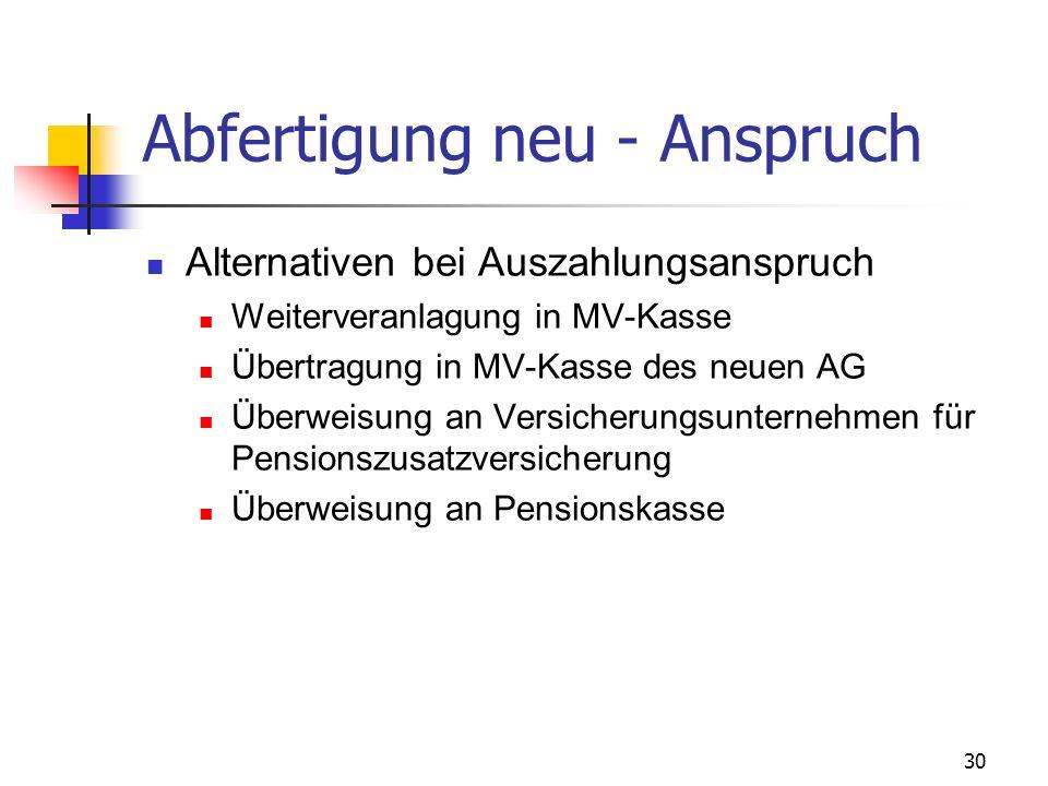 30 Abfertigung neu - Anspruch Alternativen bei Auszahlungsanspruch Weiterveranlagung in MV-Kasse Übertragung in MV-Kasse des neuen AG Überweisung an V