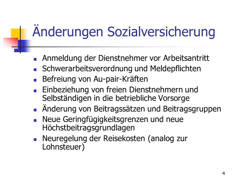 5 Änderungen DB, DZ, KommSt Senkung des DZ in Steiermark und Kärnten Erhöhung der Familienbeihilfe Neuregelung der Reisekosten (analog zur Lohnsteuer)