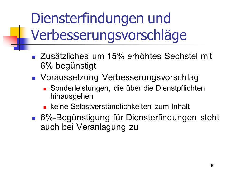 41 Kündigungsentschädigungen Erfassung im Monat der Zahlung Versteuerung nach Abzug der SV: 1/5 steuerfrei 4/5 LSt nach Monatstarif (gegebenenfalls gemeinsam mit Monatslohn)