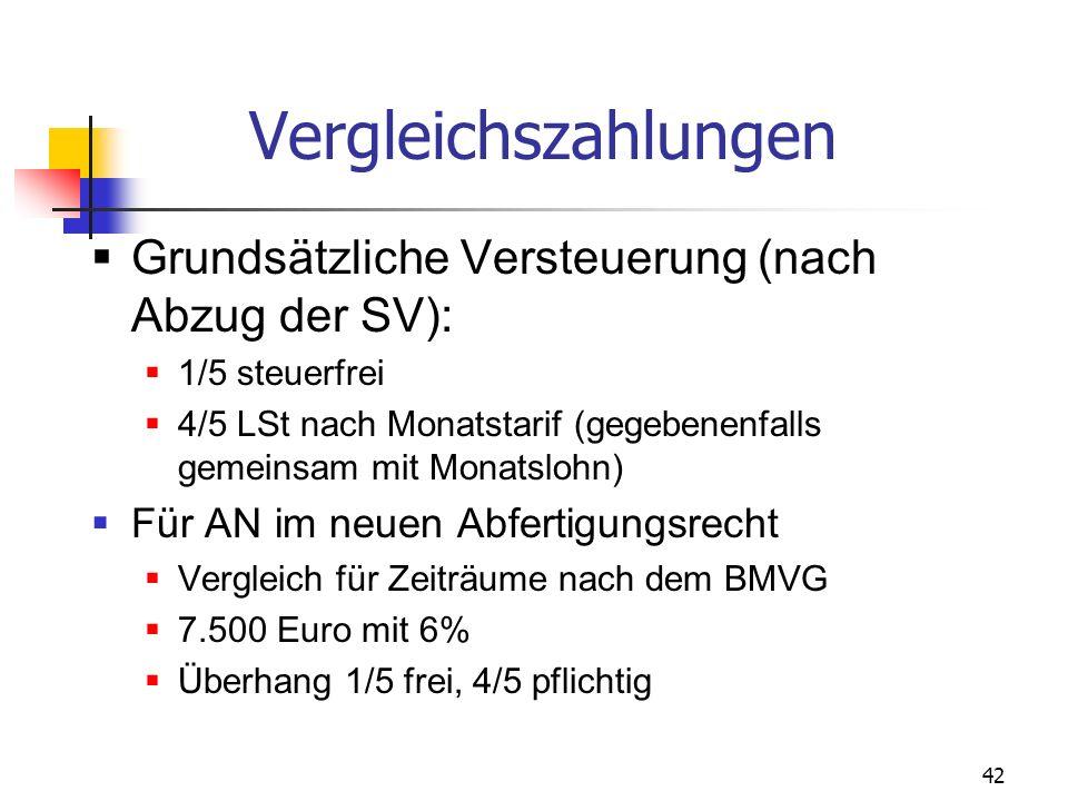 42 Vergleichszahlungen Grundsätzliche Versteuerung (nach Abzug der SV): 1/5 steuerfrei 4/5 LSt nach Monatstarif (gegebenenfalls gemeinsam mit Monatslo