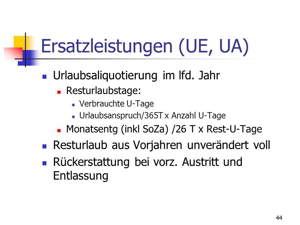 44 Ersatzleistungen (UE, UA) Urlaubsaliquotierung im lfd. Jahr Resturlaubstage: Verbrauchte U-Tage Urlaubsanspruch/365T x Anzahl U-Tage Monatsentg (in
