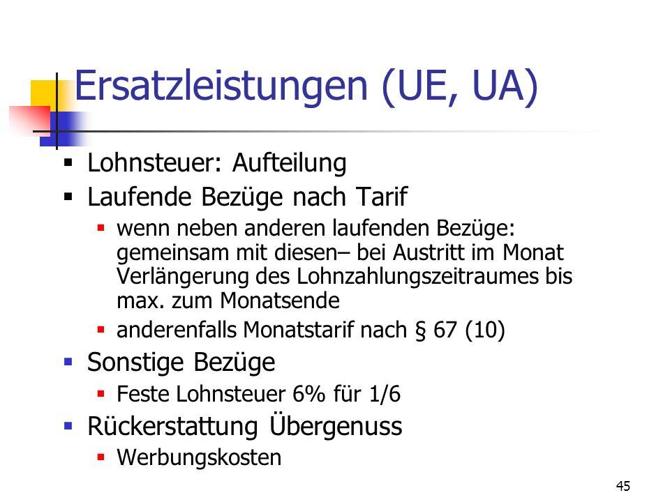 45 Ersatzleistungen (UE, UA) Lohnsteuer: Aufteilung Laufende Bezüge nach Tarif wenn neben anderen laufenden Bezüge: gemeinsam mit diesen– bei Austritt