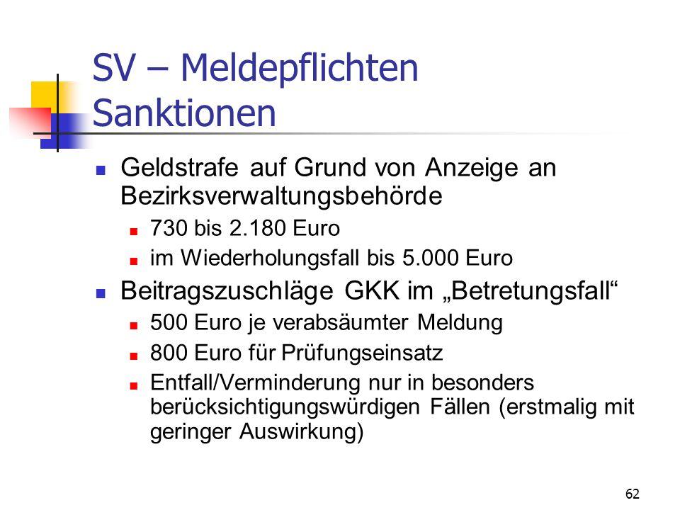 62 SV – Meldepflichten Sanktionen Geldstrafe auf Grund von Anzeige an Bezirksverwaltungsbehörde 730 bis 2.180 Euro im Wiederholungsfall bis 5.000 Euro