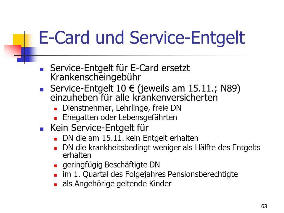 63 E-Card und Service-Entgelt Service-Entgelt für E-Card ersetzt Krankenscheingebühr Service-Entgelt 10 (jeweils am 15.11.; N89) einzuheben für alle k
