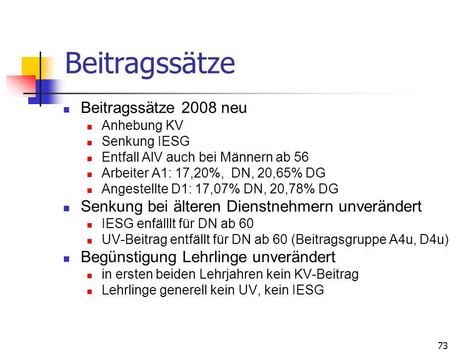 73 Beitragssätze Beitragssätze 2008 neu Anhebung KV Senkung IESG Entfall AlV auch bei Männern ab 56 Arbeiter A1: 17,20%, DN, 20,65% DG Angestellte D1: