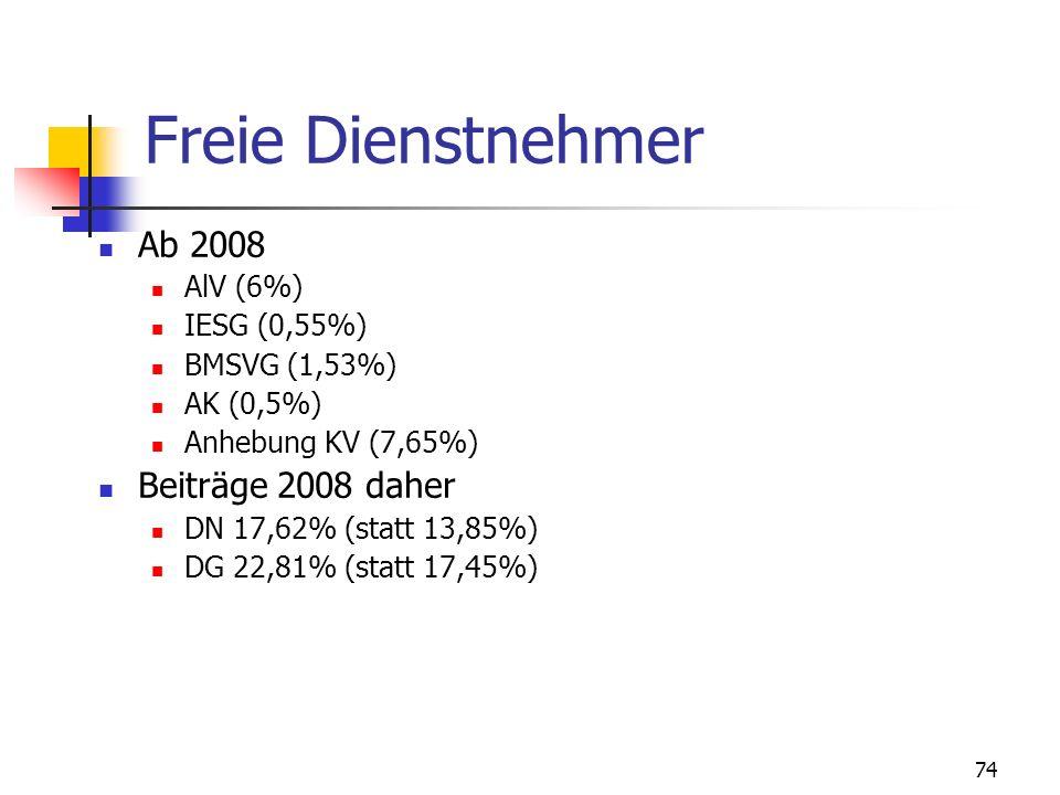 74 Freie Dienstnehmer Ab 2008 AlV (6%) IESG (0,55%) BMSVG (1,53%) AK (0,5%) Anhebung KV (7,65%) Beiträge 2008 daher DN 17,62% (statt 13,85%) DG 22,81%