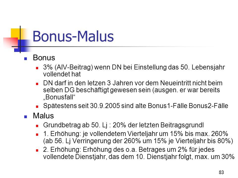 83 Bonus-Malus Bonus 3% (AlV-Beitrag) wenn DN bei Einstellung das 50. Lebensjahr vollendet hat DN darf in den letzen 3 Jahren vor dem Neueintritt nich