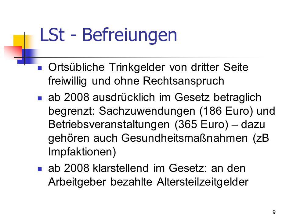 9 LSt - Befreiungen Ortsübliche Trinkgelder von dritter Seite freiwillig und ohne Rechtsanspruch ab 2008 ausdrücklich im Gesetz betraglich begrenzt: S
