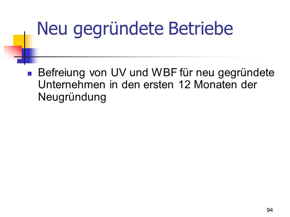 94 Neu gegründete Betriebe Befreiung von UV und WBF für neu gegründete Unternehmen in den ersten 12 Monaten der Neugründung
