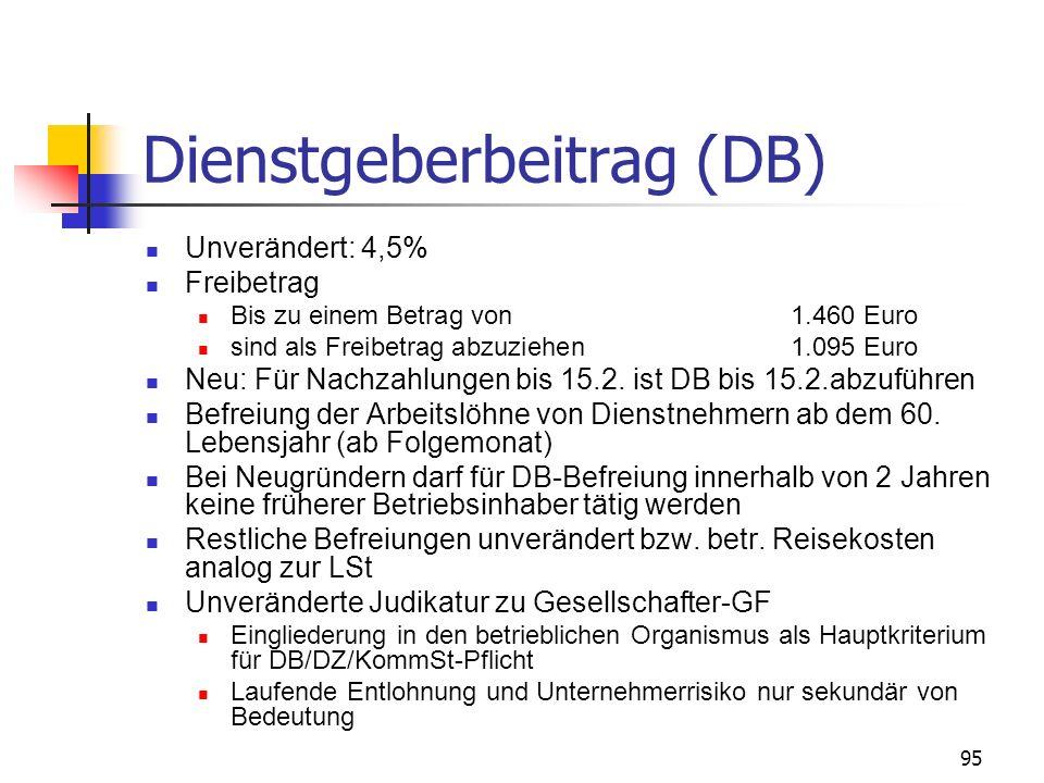 96 Zuschlag zum DB (DZ) DZ-Sätze 2008 – Senkung in Kärnten um Steiermark um 0,01% in Wien: 0,40% in NÖ: 0,42% in OÖ: 0,36% in Salzburg: 0,43% in Tirol: 0,44% in Vorarlberg: 0,39% in Kärnten: 0,41% in Steiermark: 0,41% in Bgld: 0,44% Befreiung der Arbeitslöhne von Dienstnehmern ab dem 60.
