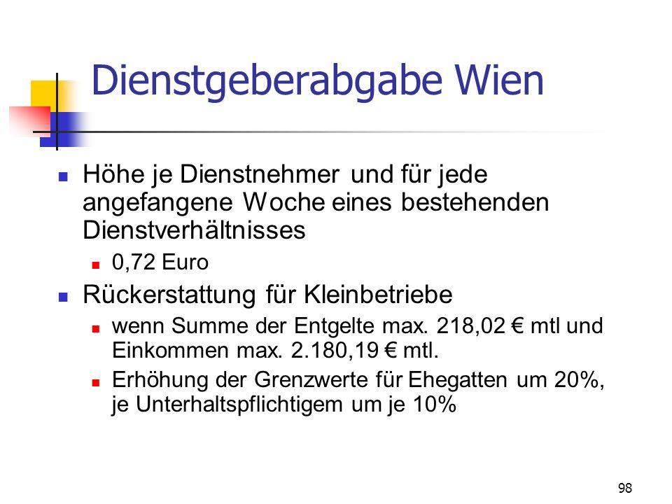 98 Dienstgeberabgabe Wien Höhe je Dienstnehmer und für jede angefangene Woche eines bestehenden Dienstverhältnisses 0,72 Euro Rückerstattung für Klein