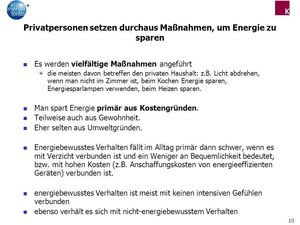 10 Privatpersonen setzen durchaus Maßnahmen, um Energie zu sparen Es werden vielfältige Maßnahmen angeführt die meisten davon betreffen den privaten Haushalt: z.B.