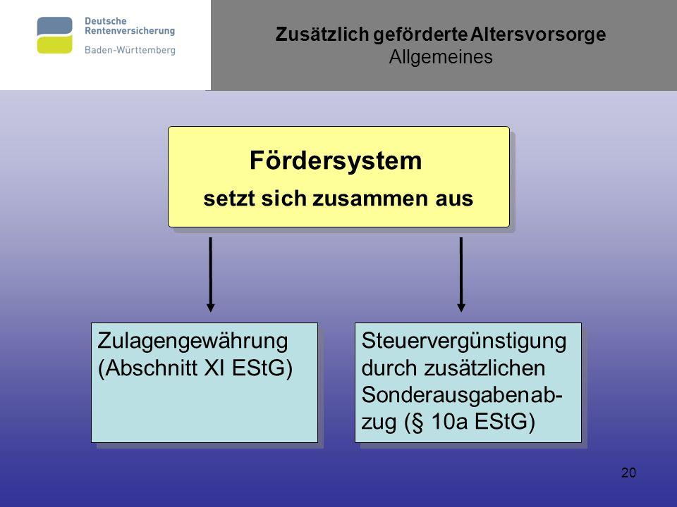 20 Zusätzlich geförderte Altersvorsorge Allgemeines Zulagengewährung (Abschnitt XI EStG) Zulagengewährung (Abschnitt XI EStG) Steuervergünstigung durc