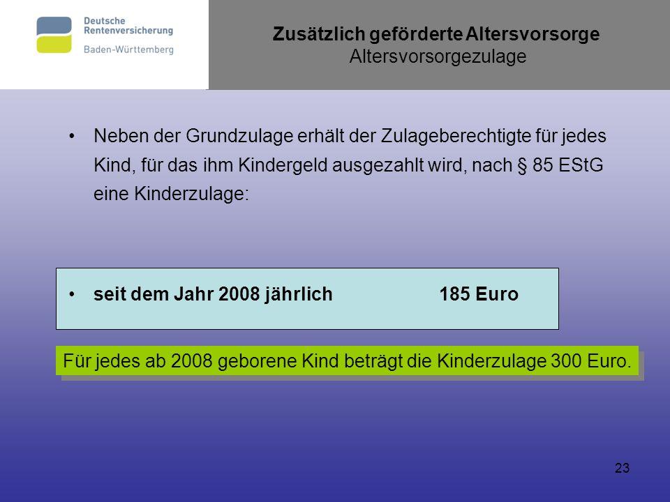 23 Neben der Grundzulage erhält der Zulageberechtigte für jedes Kind, für das ihm Kindergeld ausgezahlt wird, nach § 85 EStG eine Kinderzulage: seit d