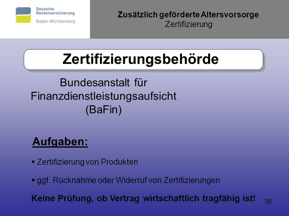 35 Zusätzlich geförderte Altersvorsorge Zertifizierung Zertifizierungsbehörde Bundesanstalt für Finanzdienstleistungsaufsicht (BaFin) Aufgaben: Zertif