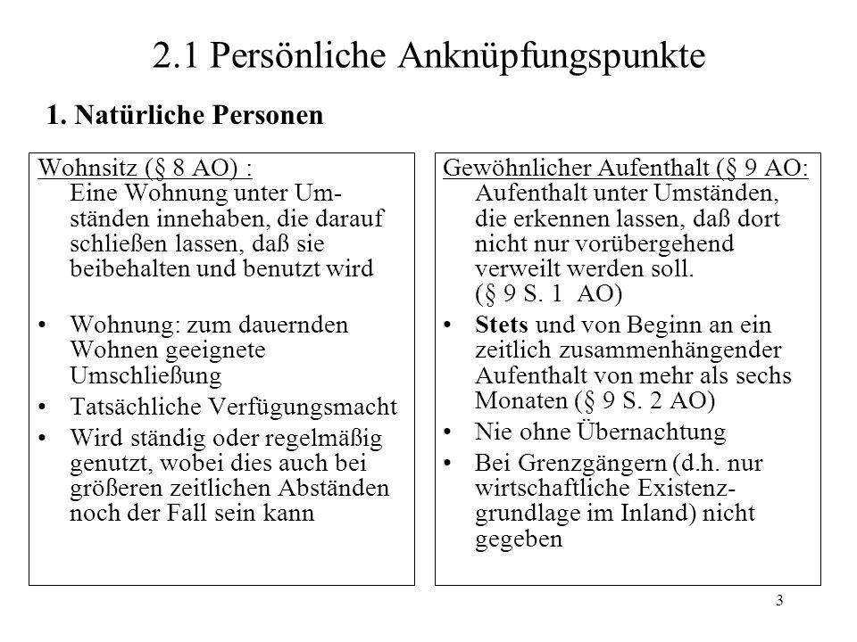 3 2.1 Persönliche Anknüpfungspunkte Wohnsitz (§ 8 AO) : Eine Wohnung unter Um- ständen innehaben, die darauf schließen lassen, daß sie beibehalten und