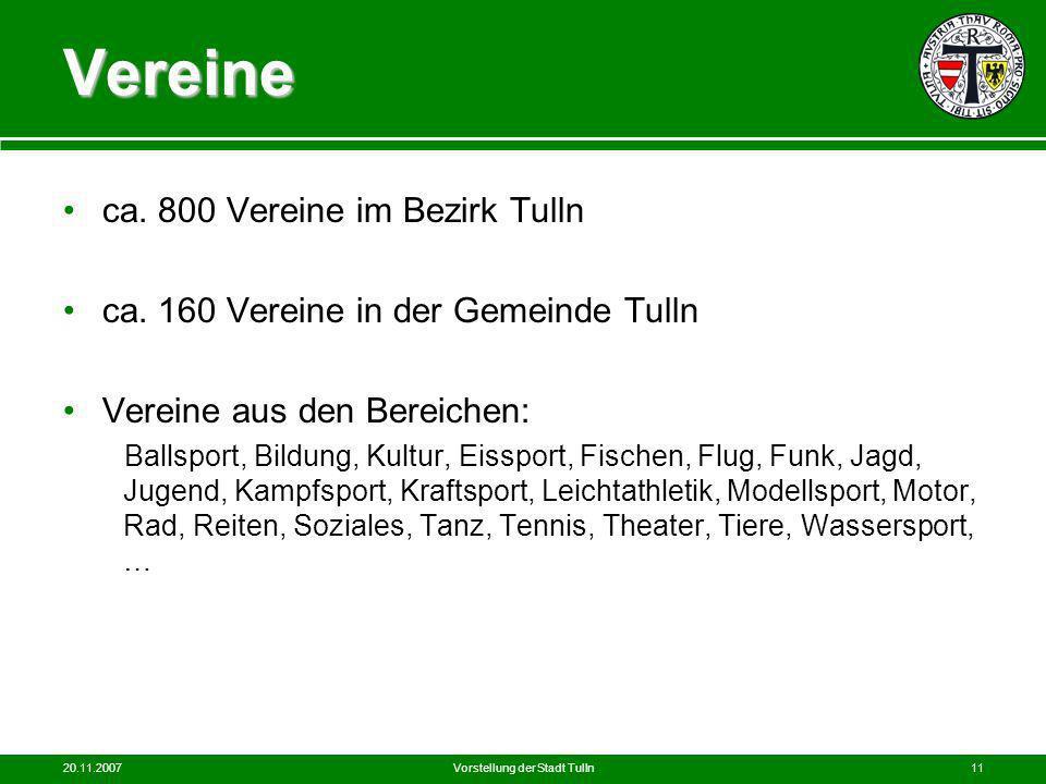20.11.2007Vorstellung der Stadt Tulln11 Vereine ca. 800 Vereine im Bezirk Tulln ca. 160 Vereine in der Gemeinde Tulln Vereine aus den Bereichen: Balls