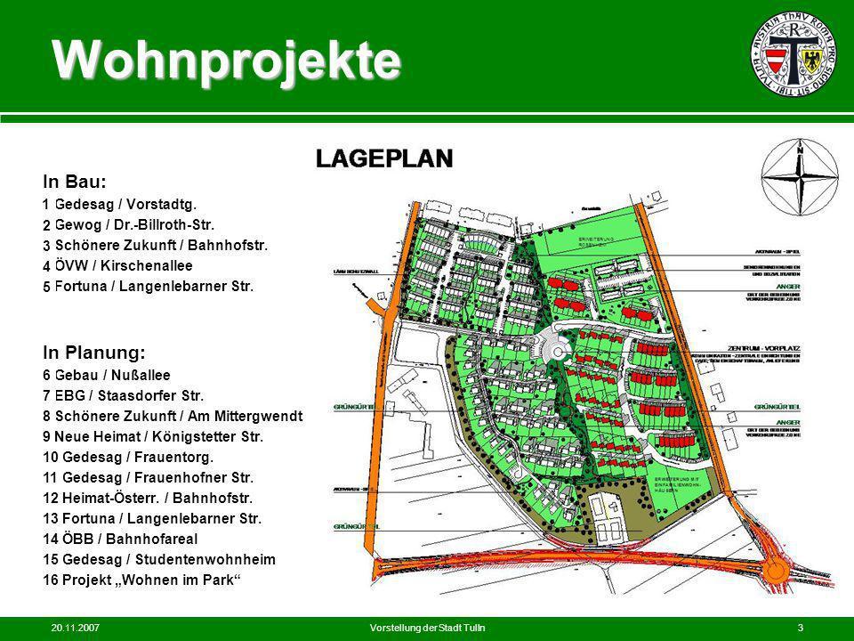 20.11.2007Vorstellung der Stadt Tulln3 UFT Wohnprojekte In Bau: 1 Gedesag / Vorstadtg. 2 Gewog / Dr.-Billroth-Str. 3 Schönere Zukunft / Bahnhofstr. 4