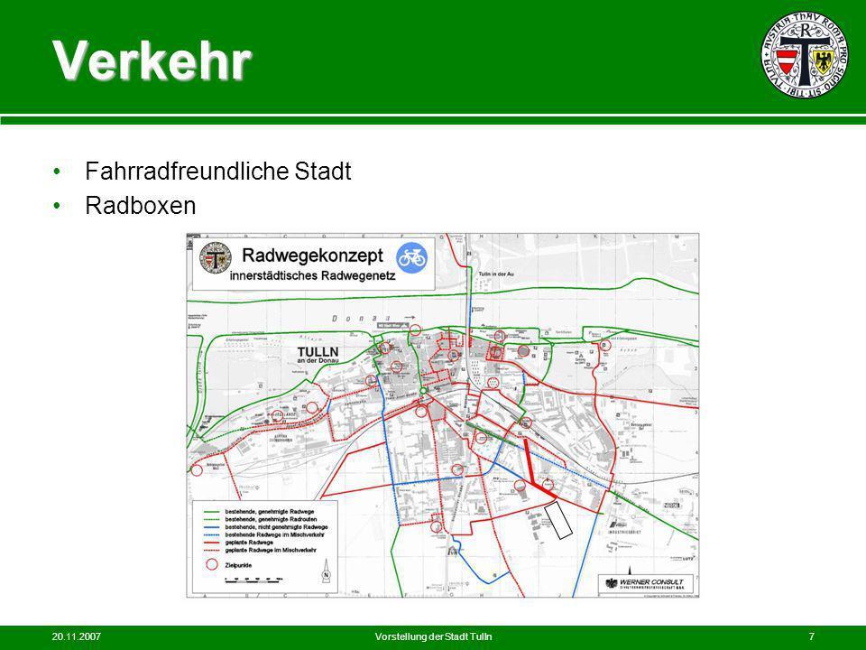 20.11.2007Vorstellung der Stadt Tulln7 Verkehr Fahrradfreundliche Stadt Radboxen