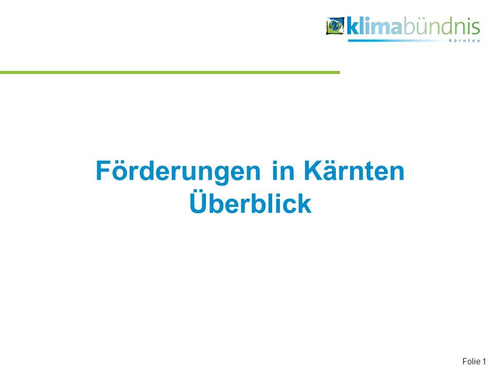 Förderungen in Kärnten Überblick Folie 1