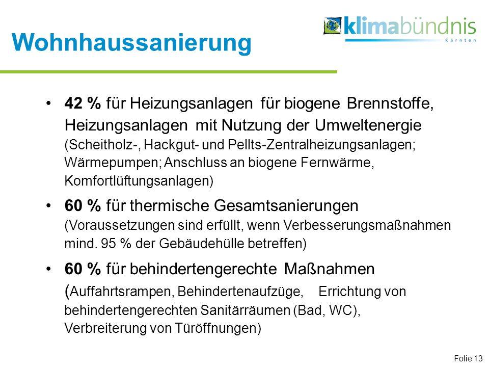 Folie 13 42 % für Heizungsanlagen für biogene Brennstoffe, Heizungsanlagen mit Nutzung der Umweltenergie (Scheitholz-, Hackgut- und Pellts-Zentralheiz