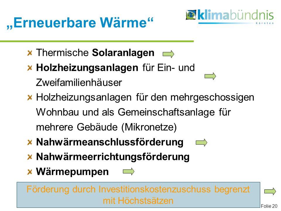 Erneuerbare Wärme Thermische Solaranlagen Holzheizungsanlagen für Ein- und Zweifamilienhäuser Holzheizungsanlagen für den mehrgeschossigen Wohnbau und