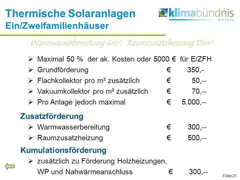Maximal 50 % der ak. Kosten oder 5000 für E/ZFH Grundförderung 350,- Flachkollektor pro m² zusätzlich50,-- Vakuumkollektor pro m² zusätzlich70,-- Pro