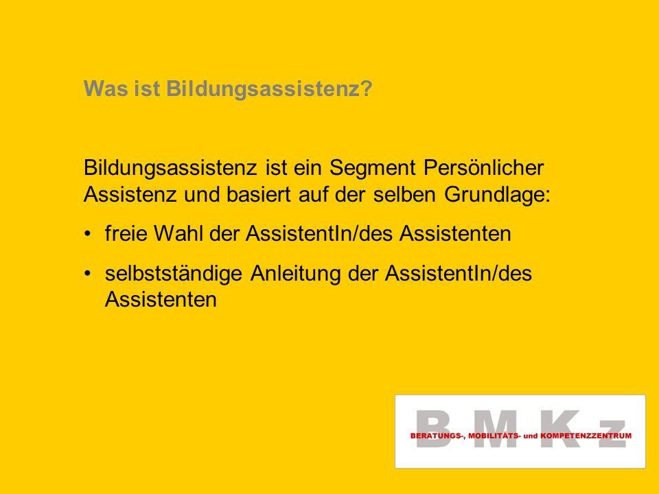 Was ist Bildungsassistenz? Bildungsassistenz ist ein Segment Persönlicher Assistenz und basiert auf der selben Grundlage: freie Wahl der AssistentIn/d