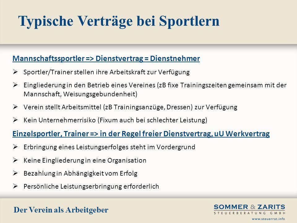 Typische Verträge bei Sportlern Der Verein als Arbeitgeber Mannschaftssportler => Dienstvertrag = Dienstnehmer Sportler/Trainer stellen ihre Arbeitskr